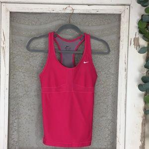 Nike Dri-Fit Pink Racerback Tank W/ Bra Small  KK9